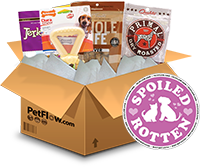 click on the photo to visit PetFlow.com and to learn more about the Spoiled Rotten Box