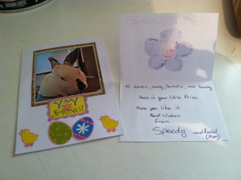 speedys card with note