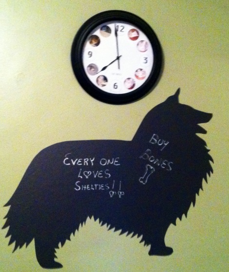 dog board under clock